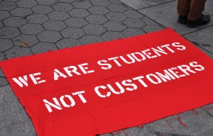 A sign protesting the imposition of tuition fees at NYC's historic Cooper Union, a 150-year-old free school. Photo by Michael Fleshman via flickr.com.