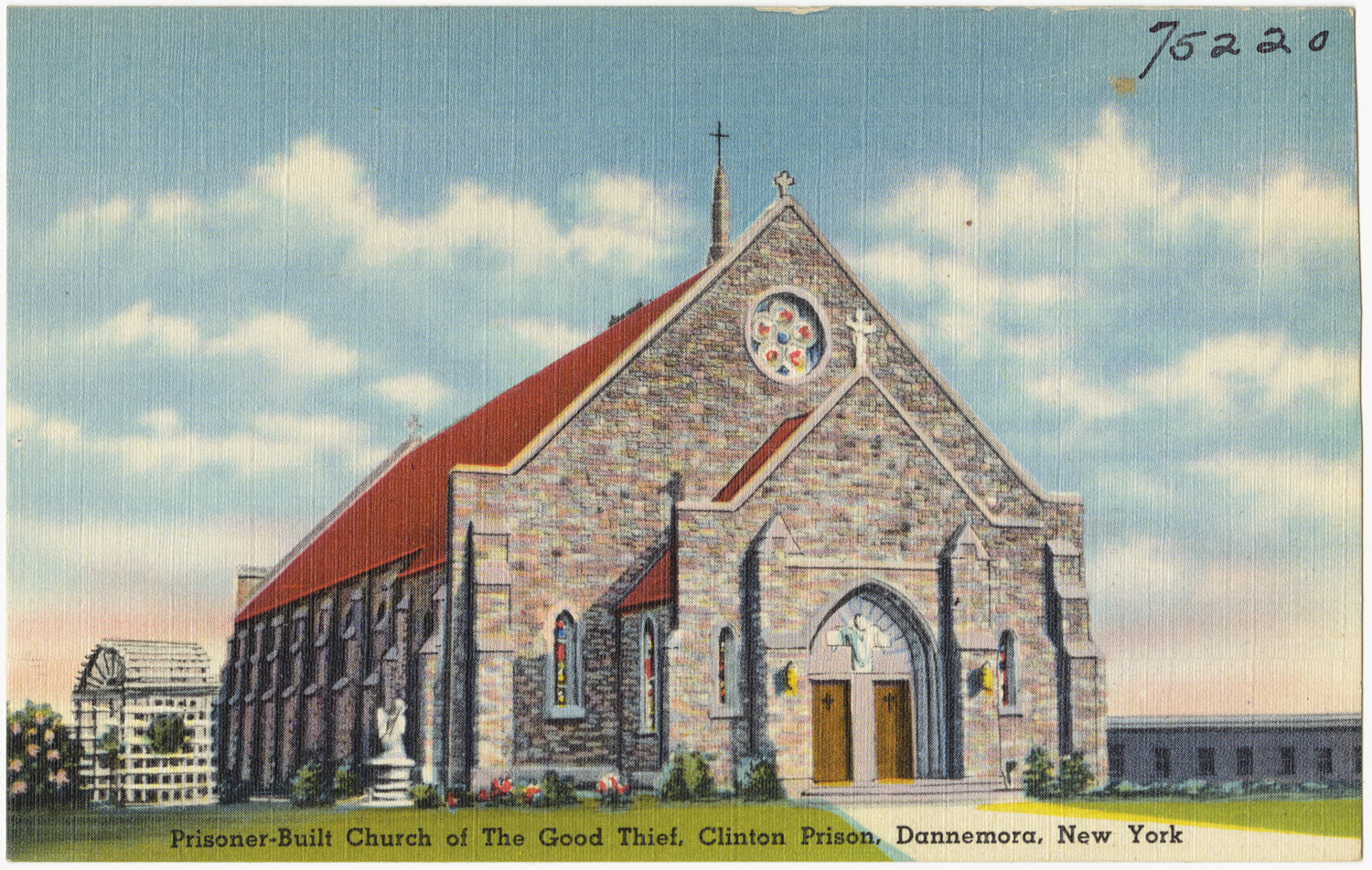 "Not your average ""going-to-the-chapel"" story. Clinton Correctional facility's ""Church of the Good Thief,"" built by prisoners in the 1930s. Image via Boston Public Library."