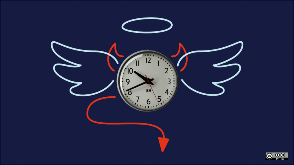 Image via opensource.com/Flickr CC, modified to include clock face.