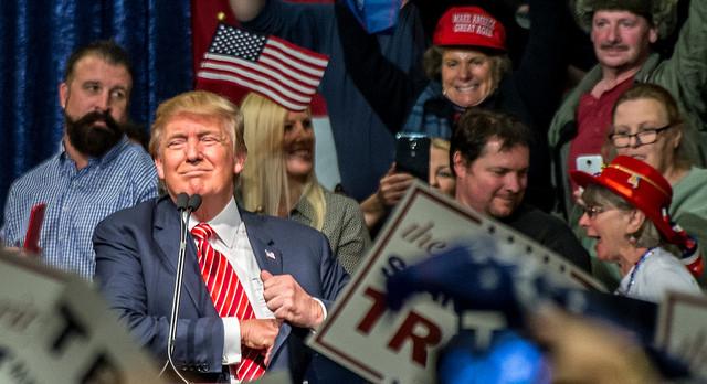 Trump at a Nevada campaign stop, 2016. Photo by Darron Birgenheier via Flickr.