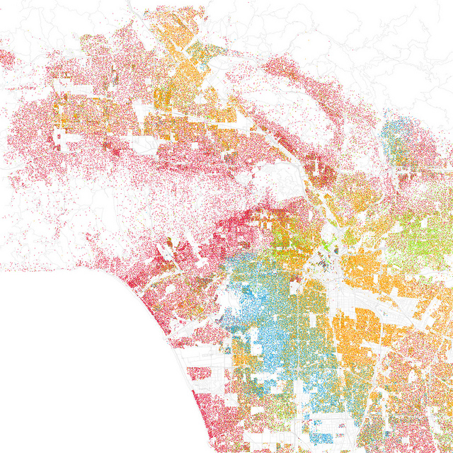 The racial integration of West Hollywood, mapped by Eric Fischer (flickr CC), inspired by Bill Rankin.