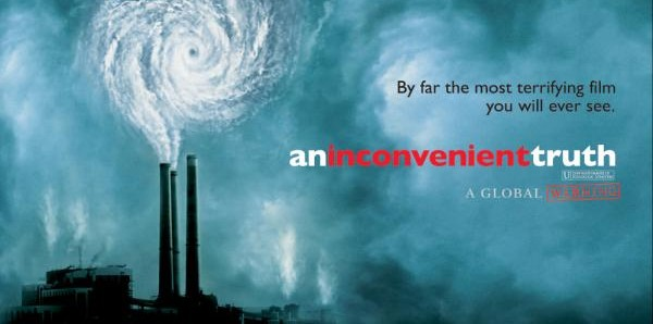 "The poster for ""global warning"" film ""An Inconvenient Truth."""