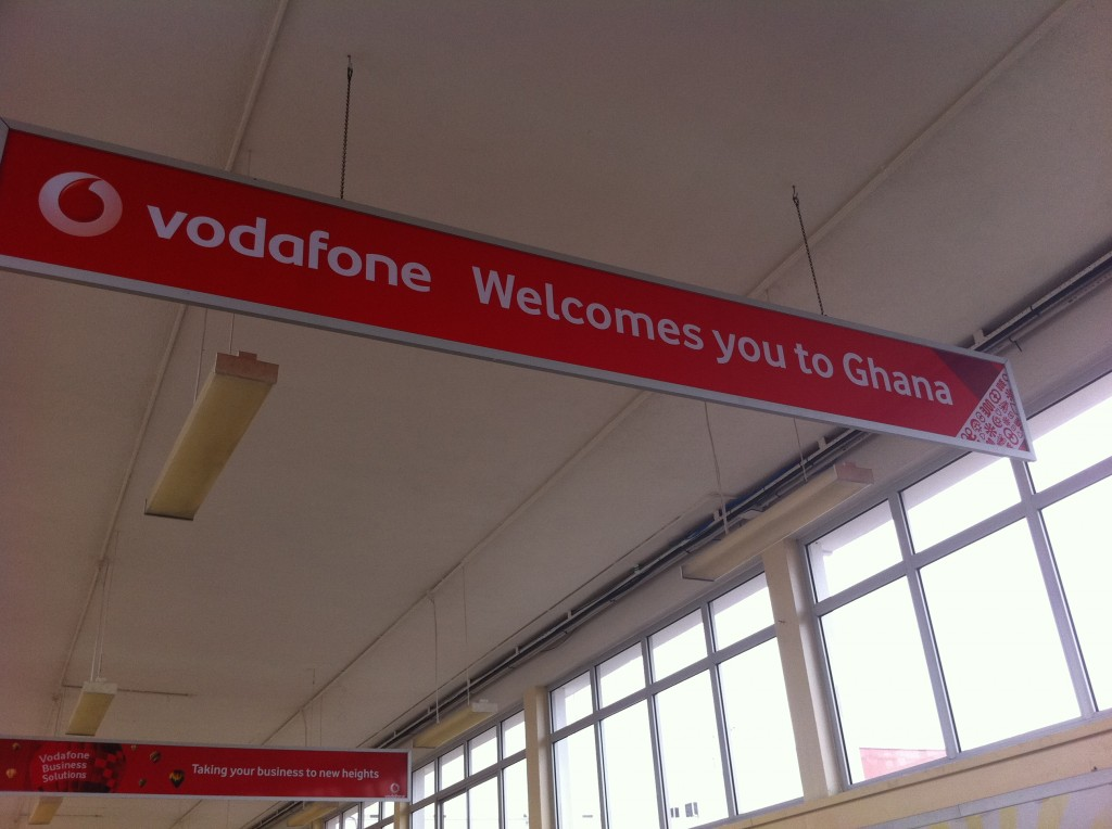 Sign in Accra airport.