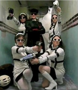 Darth Vader and her stormtroopers.