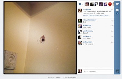A Watertown resident posts a picture of a bullet hole in their wall. A result of the shootout between suspects and police.