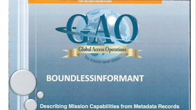 Also from The Guardian, the title slide in the leaked NSA Boundless Informant presentation.