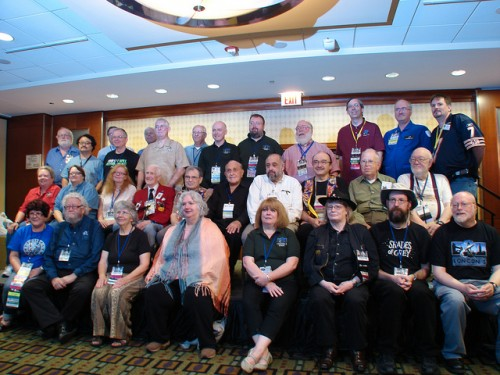A gathering of past, present, and future WorldCon chairs. Some people have noted some issues with this picture.