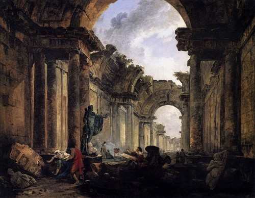 """Imaginary View of the Grande Galerie in the Louvre in Ruins"" - Hubert Robert (1796)"