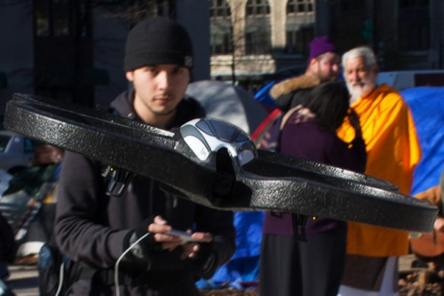 Tim Pool with his Occucopter. Photo courtesy of Sean Captain/Wired.