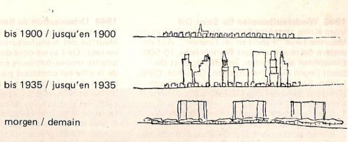 Le Corbusier's sketch for the evolution of the city, 1935. From https://eliinbar.files.wordpress.com/2010/10/ville-radieuse-by-le-corbusier0001.jpg