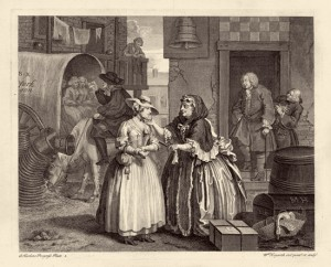 """Moll Hackabout has arrived at the Bell Inn in Cheapside, fresh from the countryside, seeking employment as a seamstress or domestic servant. She stands, innocent and modestly attired, in front of Mother Needham, the brothel keeper, who is examining her youth and beauty."" Plate 1 of 6, April 1733"