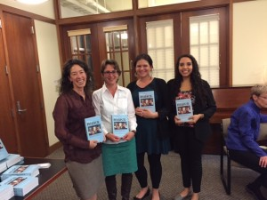 From left to right are Shayne's colleague and co-author Kristy Leissle, author Julie Shayne and student authors Mahala and Jessica.