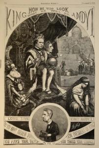 Thomas Nast cartoon lampooning Andrew Jackson, 1866