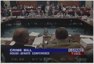 C-SPAN captured committee meetings in which Democrats and Republicans worked together to reconcile the House and Senate versions of the 1994 omnibus crime bill.