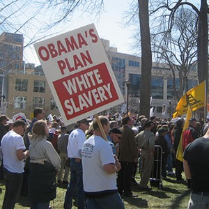 A Madison, WI Tea Party rally in April 2009 as photographed by CometStarMoon via flickr.com.