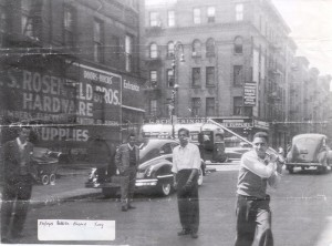 A Dominican team known as the Young Devils (still a social club to this day) plays stickball in Spanish Harlem in the 1940s. Historic photo via streetplay.com.