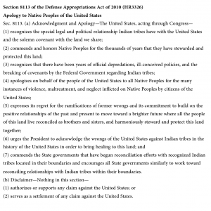 """The text of HR3326, Section 8113, """"Apology to Native Peoples of the United States."""" Click to enlarge."""
