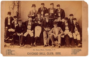 A photo of the 1888 Chicago White Stockings (later White Sox) with their mascot, Clarence Duvall. Historical photo from the collection of Joseph Hall.