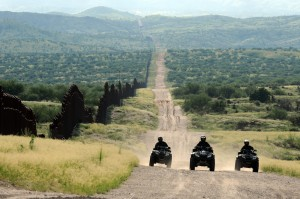 "As part of ""Operation Copper Cactus,"" National Guard Troops patrol the US-Mexico border near Nogales, AZ. US Gov't Work."