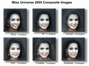 """Attractiveness by Origin"" courtesy of manitou2121 via flickr CC. Multi-morph composites of the 2005 Miss Universe delegates. Click for the artist's process and description."