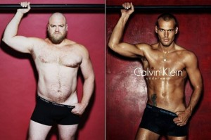 """Regular"" men posing like men in underwear ads. Photo via Huffington Post."