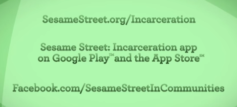 A screenshot from a Sesame Street clip about parents in prison.