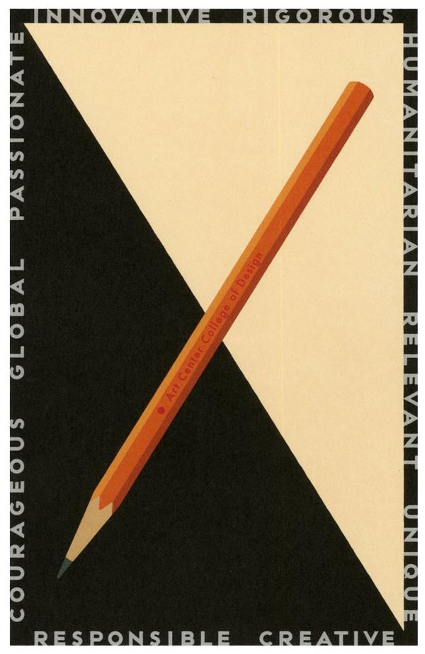 Michael Schwabs poster design for the Art Center College of Design in Pasadena, CA
