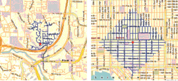 Map comparison highlighting walking distances in urban grid vs. cul-de-sac layout