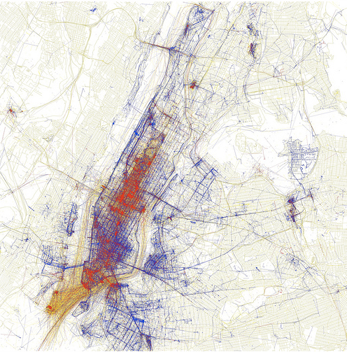 New York mapped by geotagged photos