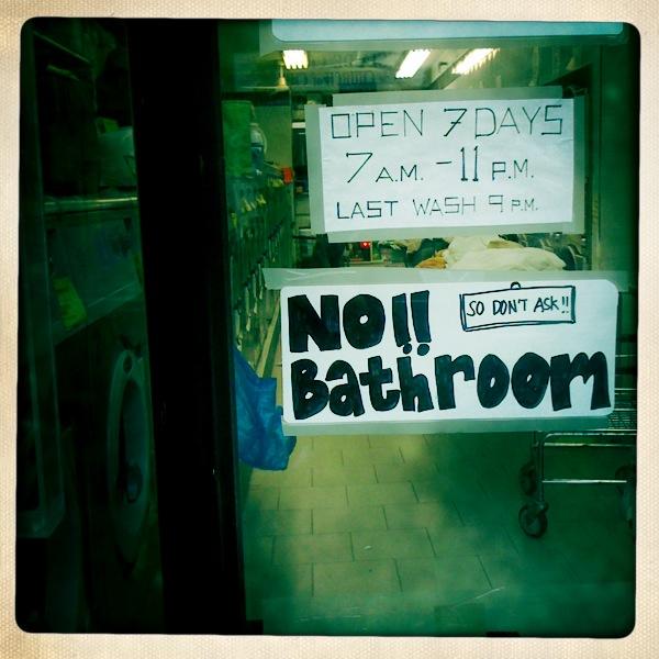 "2nd Avenue ""no bathroom"" sign, East Village, New York City (2009)"