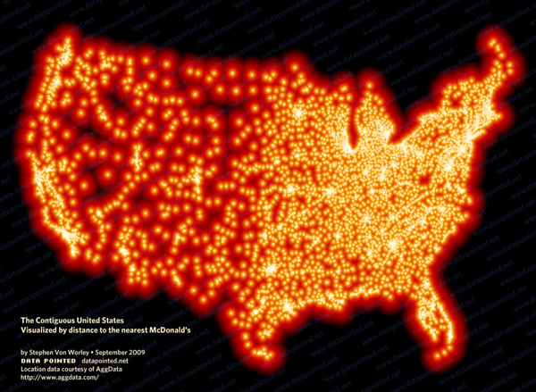 Distance to nearest McDonald's in the US | Stephen Von Worley