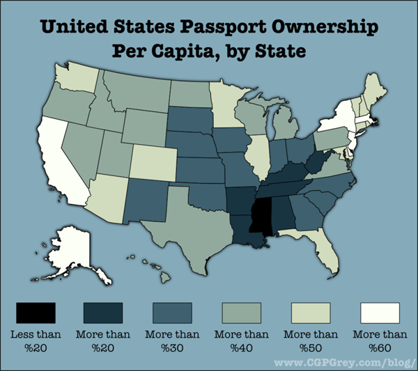 Percentage of US citizens holding passports, by state