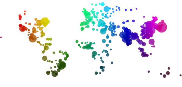World cites color map by size and location | Impure Blog