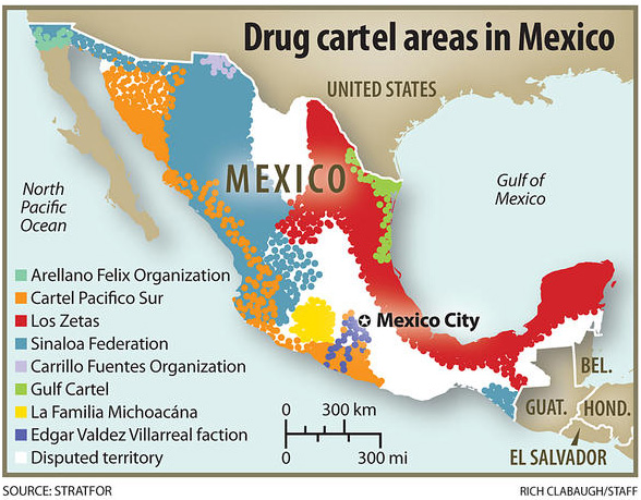 Drug Cartel Areas in Mexico | Christian Science Monitor