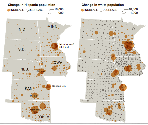 Increase and decrease in Hispanic population in the Dakotas, Minnesota, Iowa, Nebraska, Kansas, and Oklahoma | 2010 Census