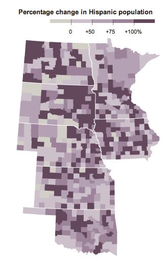 Percent change in hispanic population in the Dakotas, Minnesota, Iowa, Nebraska, Kansas, Oklahoma