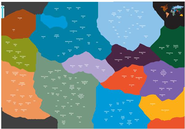 Global charitable giving map, 2011
