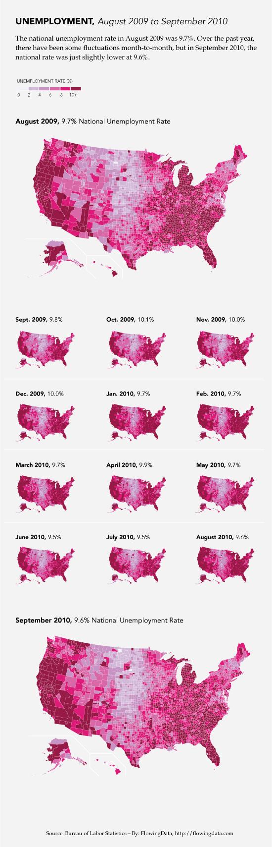 Unemployment map via FlowingData
