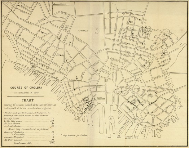 Cholera map of Boston, 1849 | Henry Williams