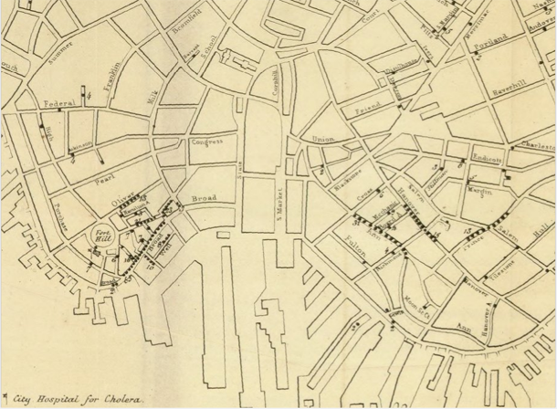 Cholera map of Boston, 1849 [closeup] | Henry Williams