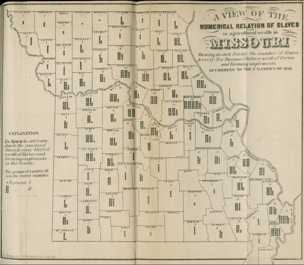 Missouri Slave Density map, 1850 | Edwin Leigh