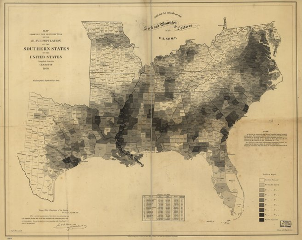 Slavery map of US, 1861