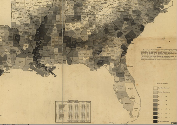 Slavery map of US, 1861 [closeup]