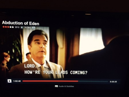 "Beau Bridges in a screen shot from Abduction of Eden. Bridges is a devout Christian who reportedly refuses to accept roles that take the Lord's name in vain, when he says ""Lord"" and ""I'll be damned"" – I think we should assume that he means it literally http://en.wikipedia.org/wiki/Beau_Bridges"