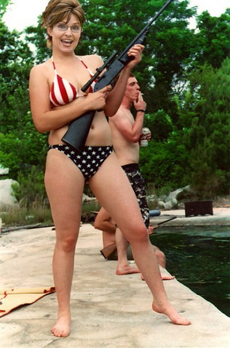 Photo manipulation of Sarah Palin's head on body of a woman in a bikini
