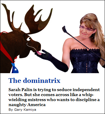 Salon advertises editorial about Palin with image of her as a moose-dominating sex worker.