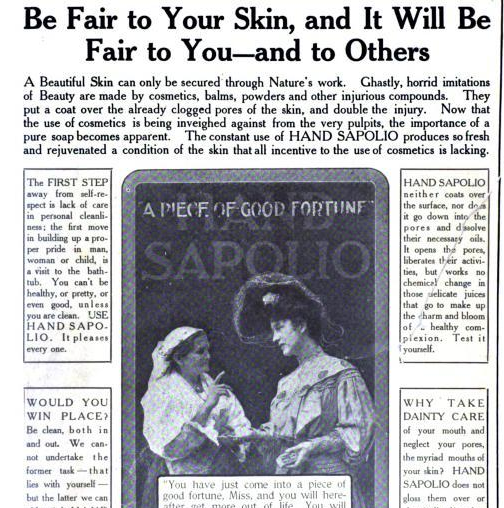 famous hairstyles in the 1900s. Here is an ad for Hand Sapolio, a popular soap in the early 1900s (found in