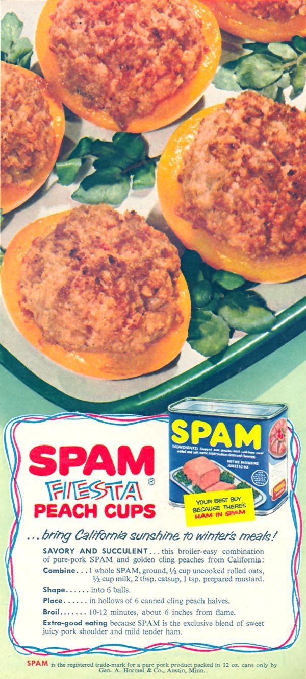 Spam Fiesta Peach Cups, Family Circle, 1956