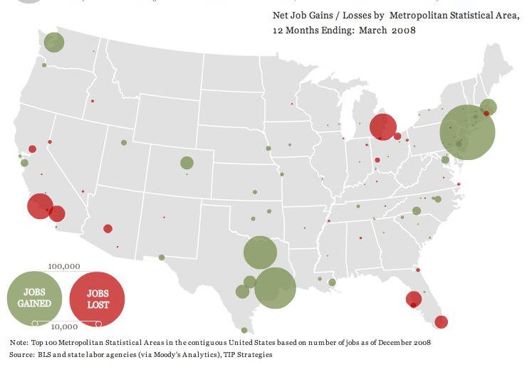 Job Loss In Largest US Metropolitan Areas Sociological Images - Us map job growth