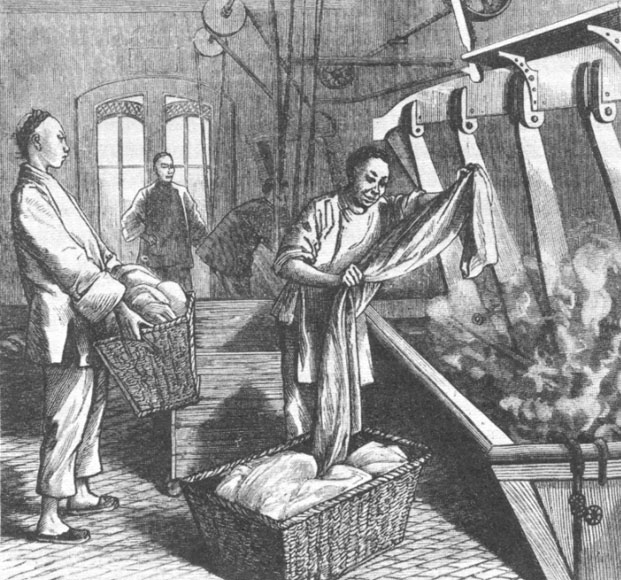 Drawing of an 1881 Chinese laundry in San Francisco   source  Chinese Immigrants 1900s